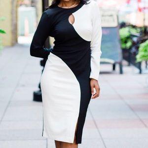 Long Sleeve Midi Dress ( Black & White)